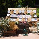 escenografía con seating plan para bodas