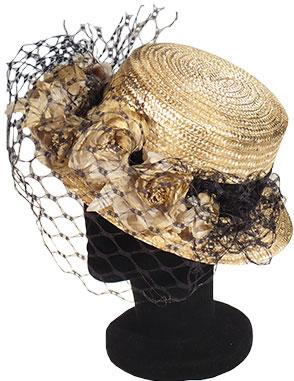 sombrero de boda con rejilla en color dorado