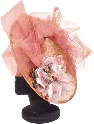 sombrero de boda con tonos rosas