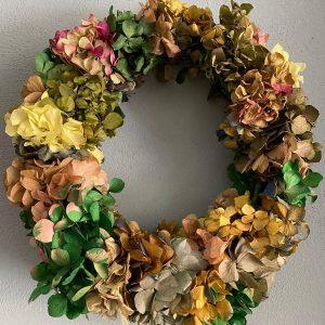 Corona pared hortensias liofilizadas /preservadas tonos verdes