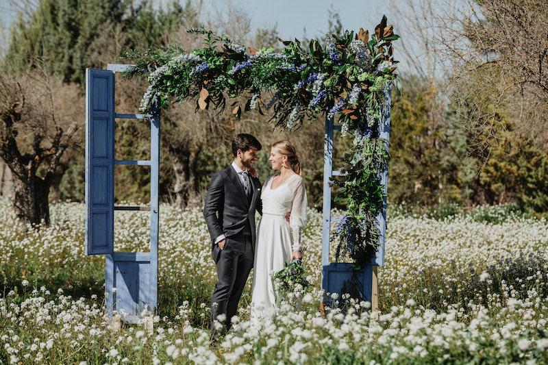 photocall decoración floral boda estilo inglés